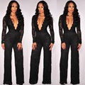 Sexy Deep-V Jumpsuit Romper Women Fashion Suits Female Body Bodycon Jumpsuits Zipper Sping Long Sleeve Overalls Lace Black