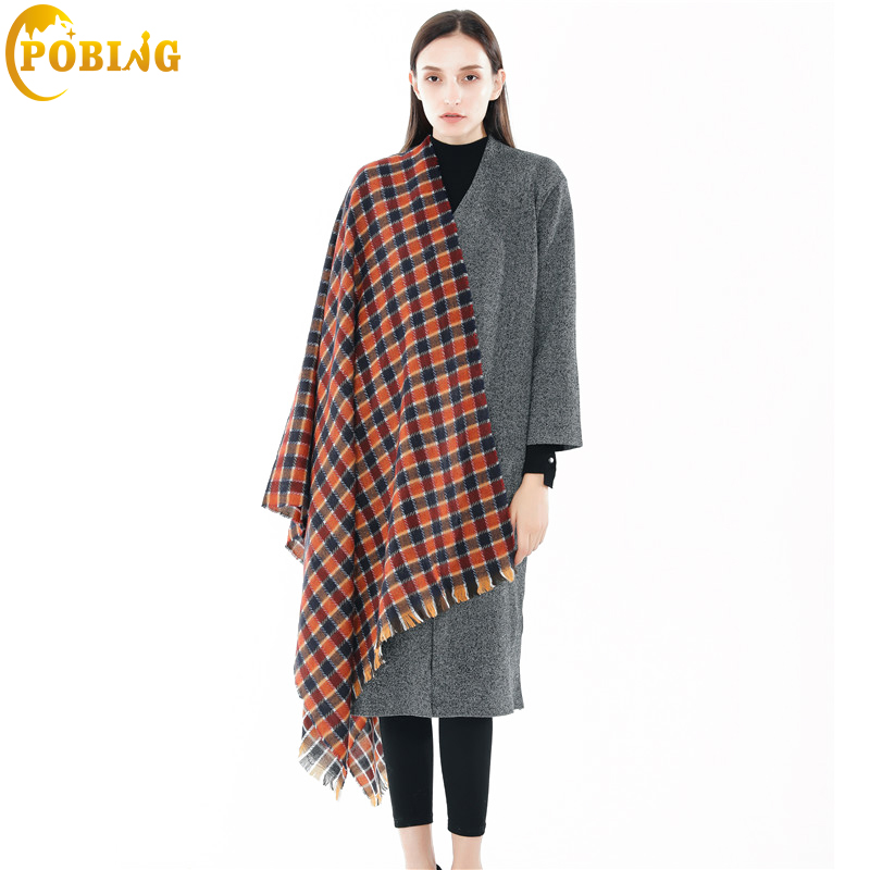 POBING Brand Winter Scarf Women Tartan Plaid Soft Cashmere Scarves Wraps Basic Acrylic Wram Shawl Female Bufandas Tassel Blanket