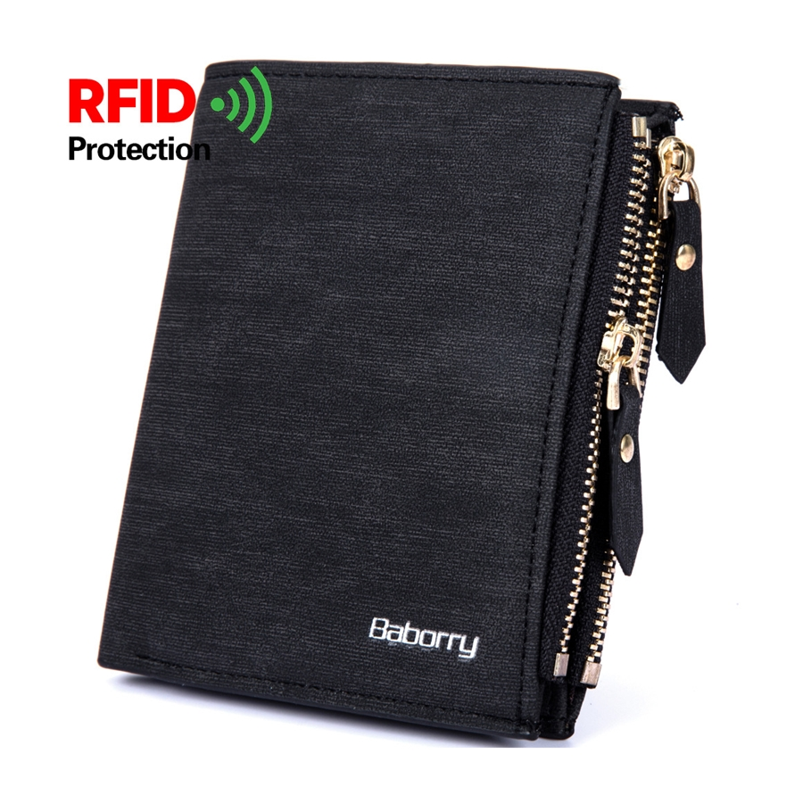 New Design Men Wallet RFID Theft Protec Coin Bag Zipper Men Wallets Famous Brand Mens Wallet Male Money Purses R005 lara lr06 72