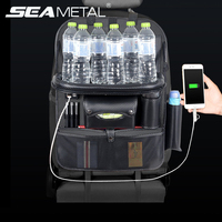 Backseat Bag 4 USB Car Organizer Charge Phone Stowing Tidying Storage Auto Accessories Back Seat Kid Table Drink Holder Travel