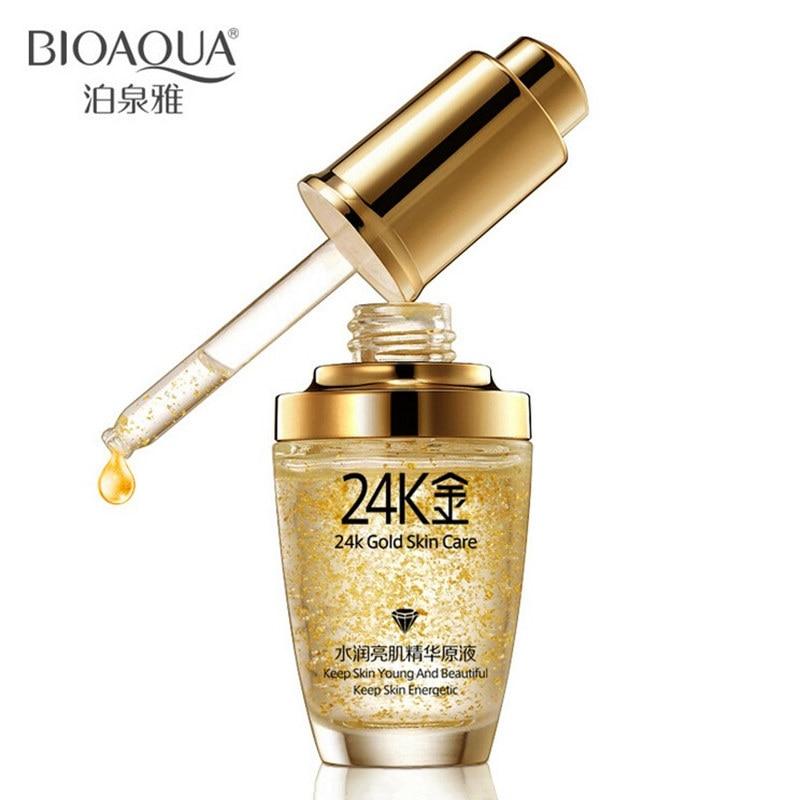 30 мл марка чистый 24 К золото сущность против морщин ухода за кожей лица анти старения коллаген отбеливание увлажняющий гиалуроновая кислота жидкость