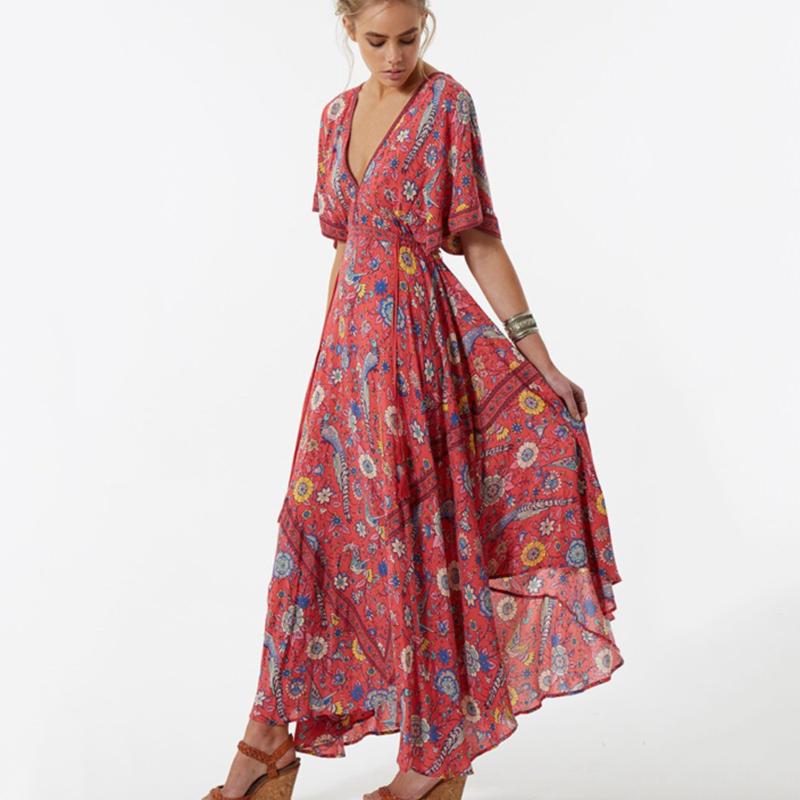 2017 Vestido Long Flower Dress Retro Bohemian Maxi Dress Sexy Ethnic Deep V neck Floral Print
