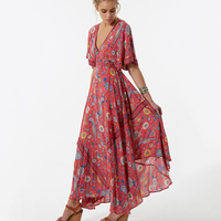 2017 Vestido Long Flower Dress Retro Bohemian Maxi Dress Sexy Ethnic Deep V neck Floral Print Beach Dresses Boho Hippie Robe