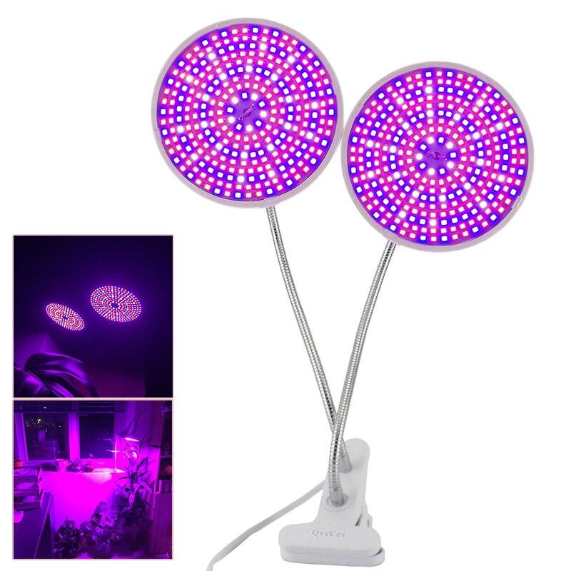 E27 290 LED Plant Grow Light Dual Lamp Full Spectrum Bulb + Desk Holder Clip set Hydroponic for Seeds Flower Vegetables Lighting
