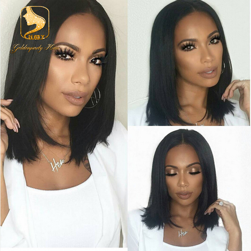 7a Middle Part Virgin Brazilian Straight U Wig 130 Density 10 16 Short Bob Human Hair Wigs For Black Women In Lace From