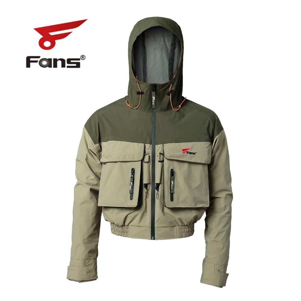 Con capucha de los hombres al aire libre respirable a prueba de viento y impermeable chaqueta de pesca de mosca con cordones de pesca multi-bolsillos de pesca senderismo