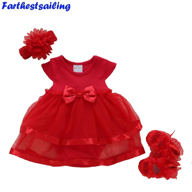 68f8cd782 Baby Girls Dress 2018 Summer Newborn Clothes Solid Short Sleeve Lace Ball Gown  Baby Party Dress+Shoes+Hair Band Kids Clothing