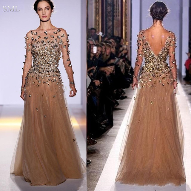 Sml New Zuhair Murad 2017 Y Formal Evening Dresses Long Sleeves Bateau Gold Tulle Crystals Backless