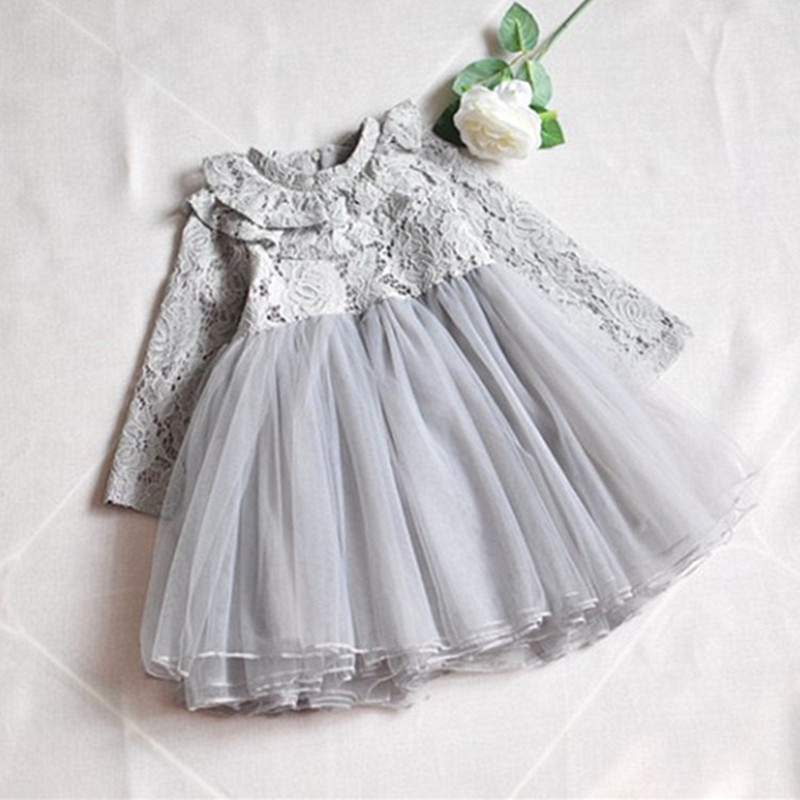 2018 Spring Lace Turtleneck Girl Clothes Kids Dresses For Girls Wedding Baby Girls Kids Party Costumes Ball Gown grey pink 3-7T baby girl dress ball gown lace patchwork sequined girls dresses for weddings party costumes kids clothing spring 2017 sale