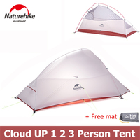 Naturehike Ultralight Cloud Up Series 1 2 3 Person Tent Double layer Backpacking Tent with Mat NH15T001 T NH15T002 T NH15T003 T