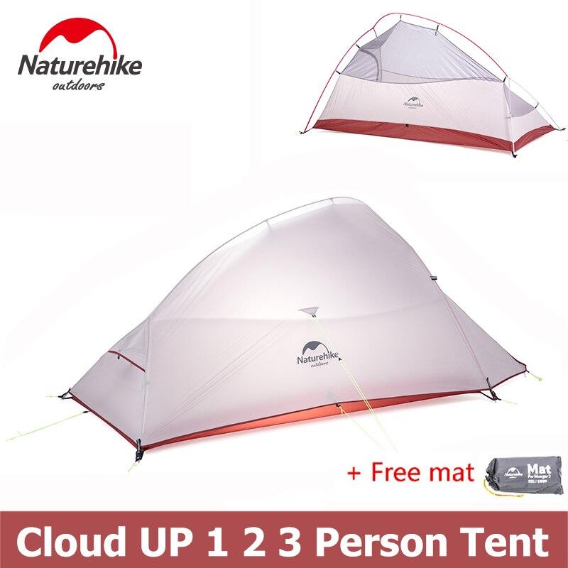Naturehike Ultra-Léger Nuage Up Série 1 2 3 Personne Tente Double-couche tente de randonnée avec Tapis NH15T001-T NH15T002-T NH15T003-T