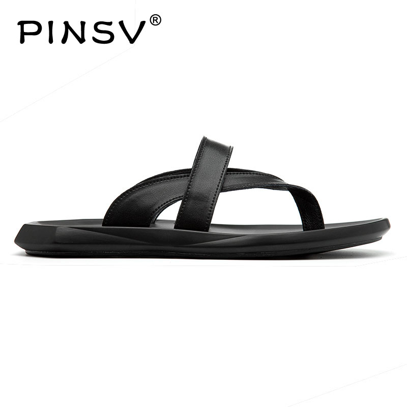 PINSV Summer Male Sandals Male Slippers Beach Shoes Dual Purpose Sandalschinelo masculino 38 47