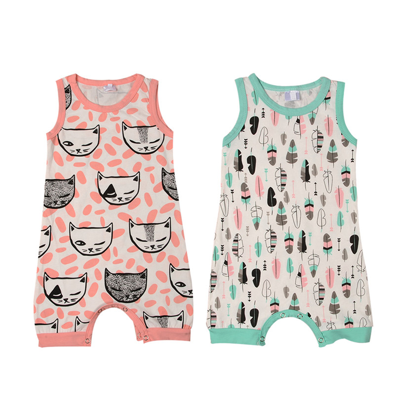 Newborn Toddler Infant Baby Boy Girl Cartoon Sleeveless Romper Jumpsuit Sunsuit Clothes Outfit for 0-24M baby newborn infant baby girl clothes strap lace floral romper jumpsuit outfit summer cotton backless one pieces outfit baby onesie
