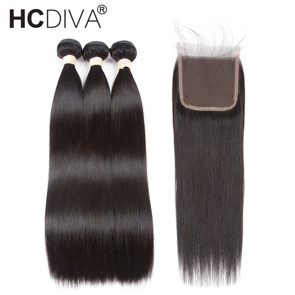 Pre Colored Peruvian Straight Hair With Closure Remy Human Hair Weaves 3 Bundles With Closure Natural