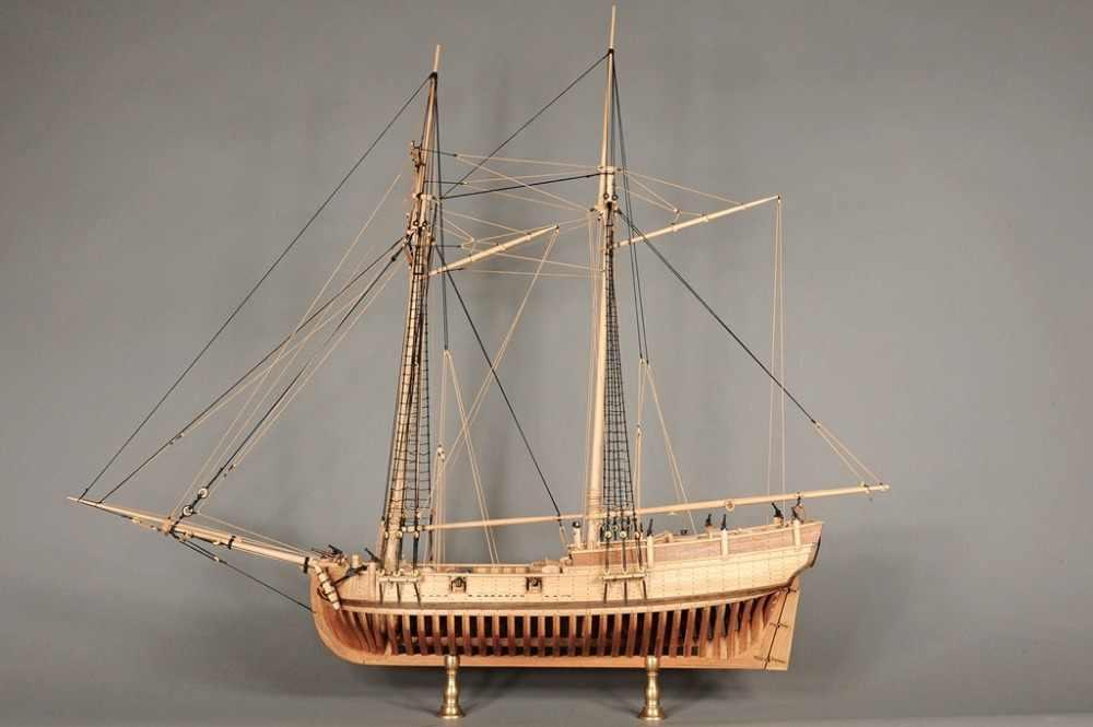 U.S. Navy Classic wooden ship model kit Scale 1/48 Hannah 1775 whole frame ship model