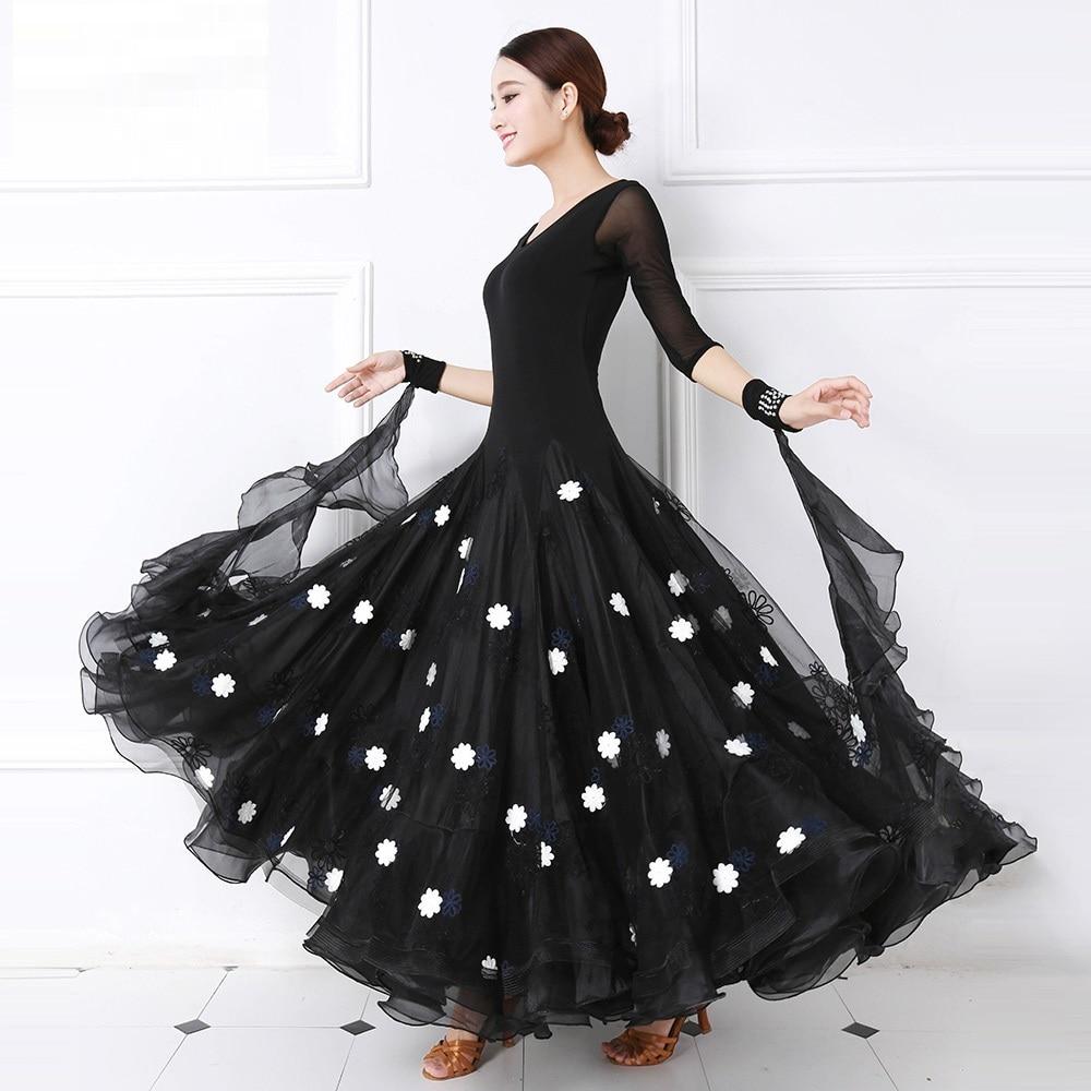 Flower Women Dance Dress Ballroom Dance Competition Dresses Standard Ballroom Dress Dance Wear Ballroom Waltz Dress Fringe