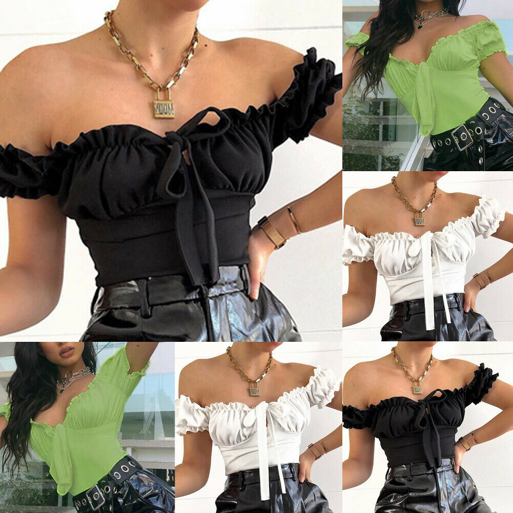 2020 NEW Women Sexy Bodysuit Summer Off Shoulder Ladies Jumpsuit Short Sleeve Bow Solid Stretch Leotard Top