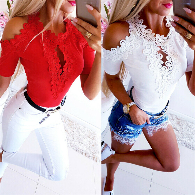 Women Lace Blouse Fashion Short Sleeve Blouses Top Casual Off Shoulder Blouse Tops Womens Blouses And Tops Casual Ladies Shirts 2