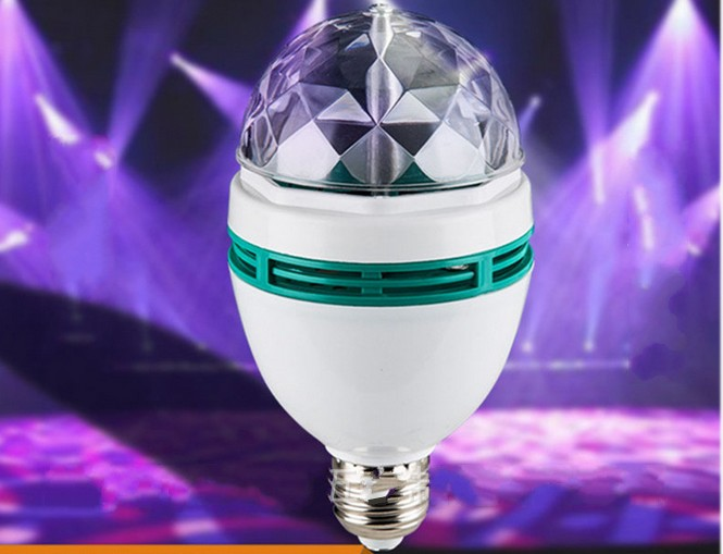 E27 3W led RGB Revolving Effect Light 90-250V Led Crystal Magic Ball Led Stage Lamp Disco Laser Light Party KTV light bulb