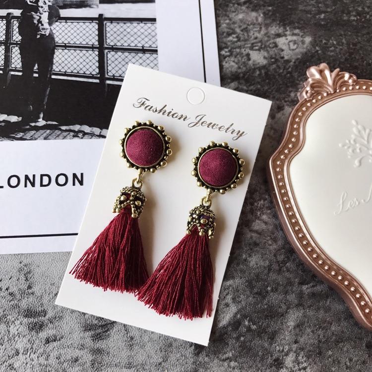 Women Fashion Jewelry Vintage Velvet Ball Statement Fringed Drop Earring Female Jewellery ,Ear Studs gray a 7