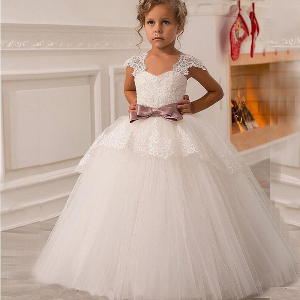 2017 New White Puffy Lace Bow Girl Dress Weddings Long Ball Gown Kids Party Communion Pageant Gown Vestidos Custom MADE gown