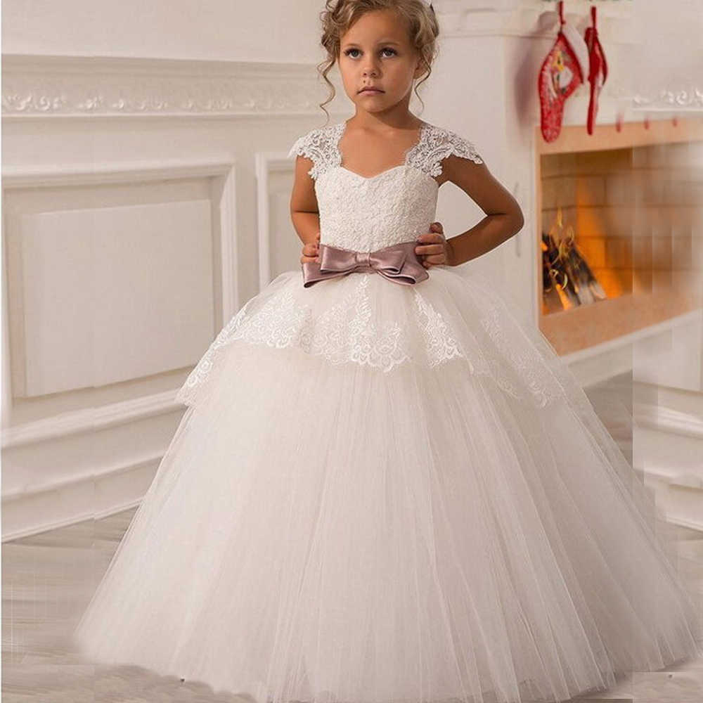 dfbbf7fb884 2017 New White Puffy Lace Bow Girl Dress Weddings Long Ball Gown Kids Party  Communion Pageant
