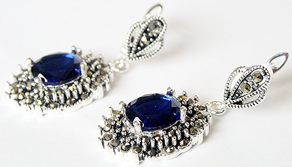 925 Sterling Silver Jewelry Blue Faceted Crystal Marcasite Dangle Earrings 1 1/2