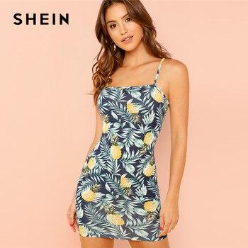 SHEIN Allover Pineapple Tropical Print Cami Dress Multicolor Sleeveless Sheath Mini Dresses Women Summer Vacation Beach Dress