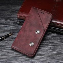 For Doogee Y8 Case Luxury Retro Rivet Leather Stand Flip Wallet Fundas Cover for Phone Coque Accessories