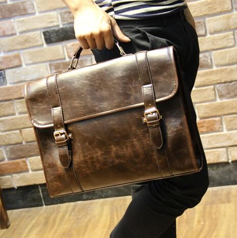Fashion designer men pu leather briefcases business portfolio men maletin hombre handbag luxury men's messenger bag tote B00021