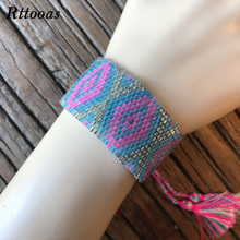 Rttooas Geometric Width Cuff Bracelet MIYUKI Beads Handmade Woven Fashion Women Bracelet Summer Jewelry Accessories chic hollowed geometric cuff bracelet for women