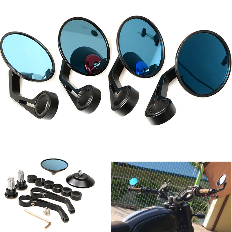 Universal Round Handlebar Aluminum Alloy Motocycle Rearview Mirrors Moto End Rear Side Mirror Motorcycle Cafe Racer Accessories