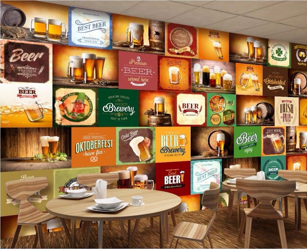 Benutzerdefinierte foto mural 3d wallpaper bier marke restaurant bar ...