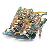 Yeni Yaz Bayanlar Moda Sandalet Online 2018 Rhinestone Elmas Kristal Stiletto Topuk Bayan Deri Toka Ayakkabı