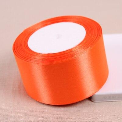 25 метров/рулон 50 мм 2 дюйма оранжевый красный атлас Ленты для свадьбы Аксессуары оптовая продажа подарочной упаковки ленты