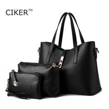 CIKER New women leather handbag bags women famous brands designer handbags high quality Handbag+Messenger Bag+Purse 3 Set blosos
