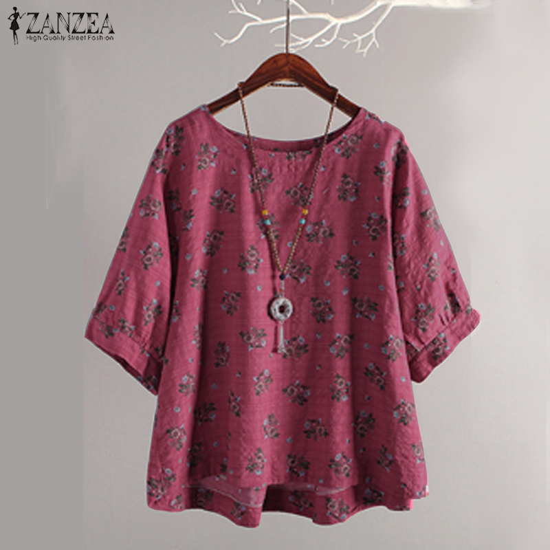 Plus Größe Vintage Frauen Bluse 2018 ZANZEA Sommer Tops Casual Floral Print Blusa Arbeit Blusas Kaftan Laterne Hülse Tunika Top