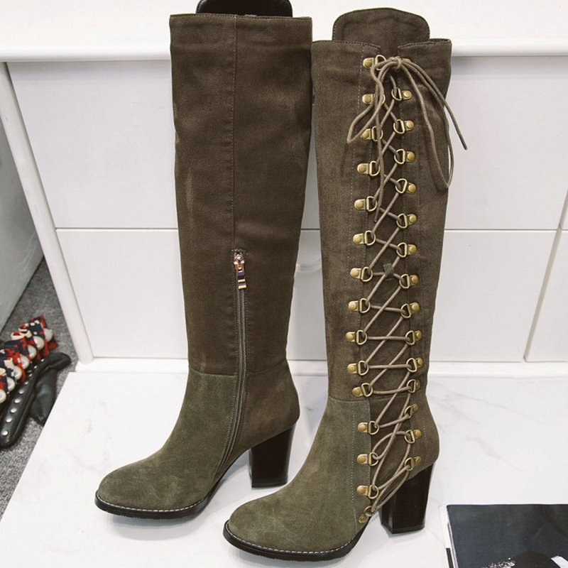 cheap lace up knee high boots gommap