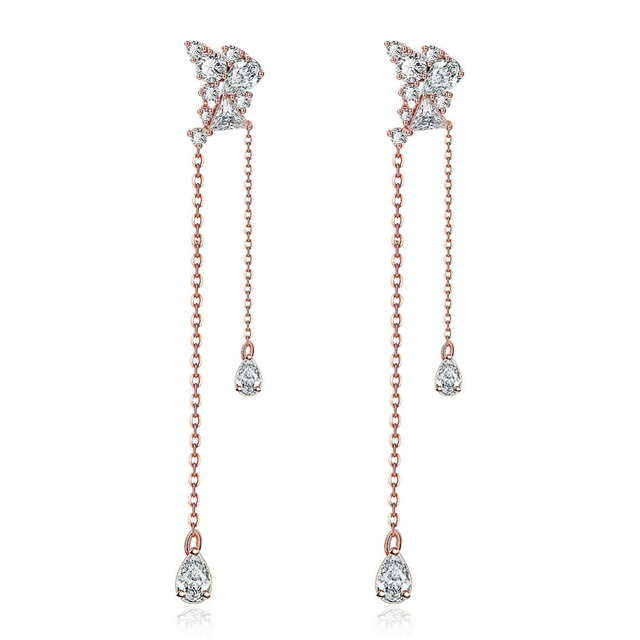 Dainty CZ Diamond Dangle Long Pendant Piercing Earrings for Women Girls  Wedding Engagement Gift HFE017 39bdc92d96