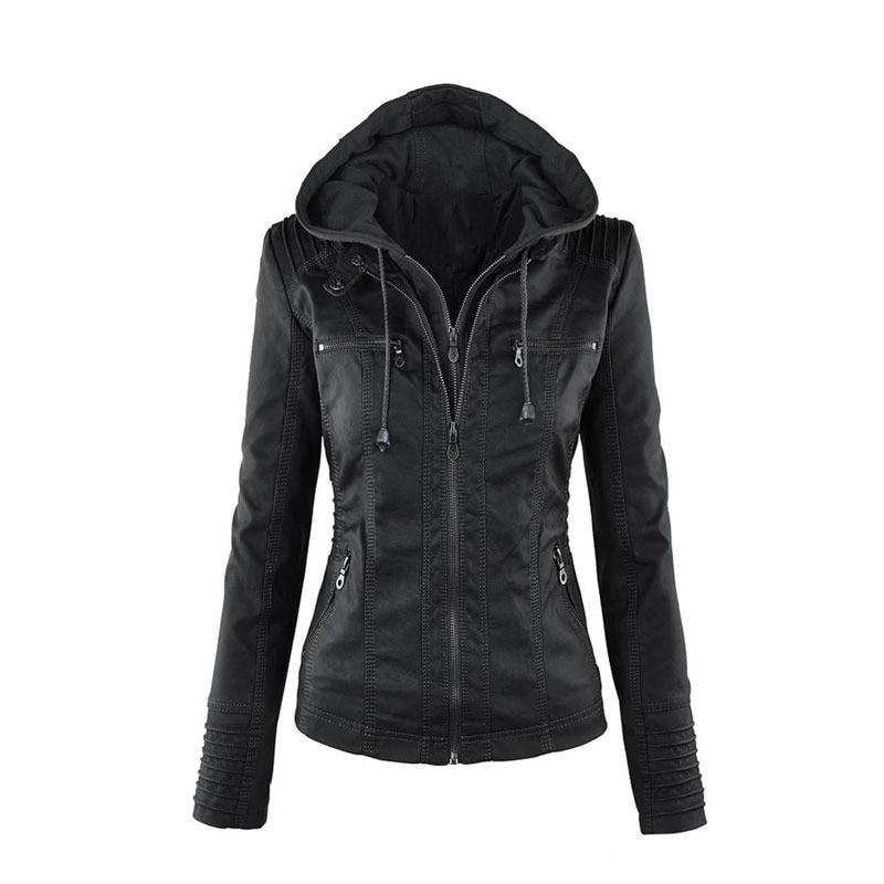 Nice Autumn Winter Women Coat Leather Bomber   Jacket   Casual European Style Woman Clothing Outerwear   Basic     Jackets   Casaco Feminino