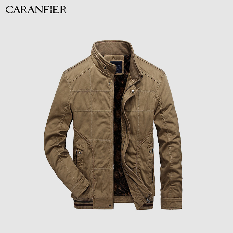 CARANFIER 2017 Barnd Jacket Men High Collar Winter Coats Jackets Warm Thick Parkas Male Cotton Liner Casual Military Outerwear