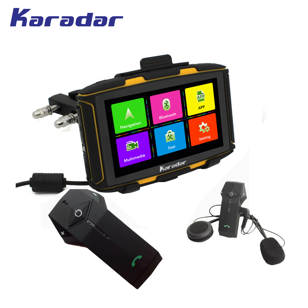 KARADAR Waterproof IPX7 motor car gps navigation 1G RAM bluetooth4.0 WIFI IPS 854*480 screen Android 4.4.3 loaded google APP