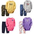 2 шт. набор новорожденных детская одежда Новая Коллекция Весна и осень 2017 Bebes Мальчиков и Девочек Боди Брюки Комбинезоны Одежда для Новорожденных набор