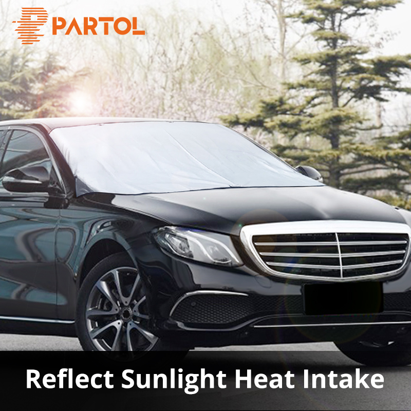 Partol Universal Big Size Automobile Sunshade Cover Snow Ice Shield For Windshield Winter Sun Car Front Window Windscreen Cover