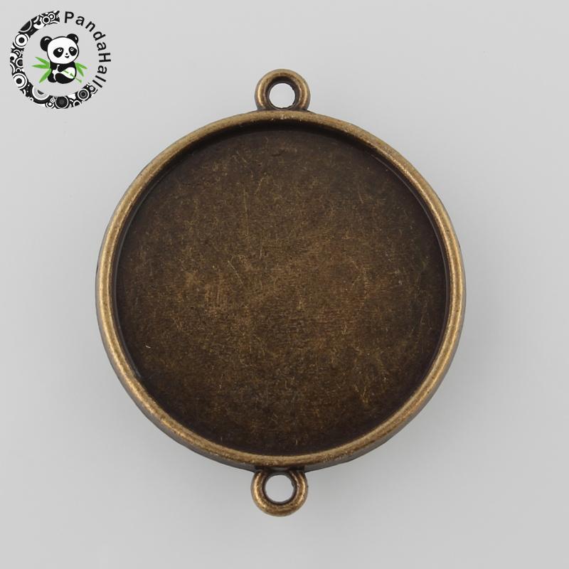 Античная бронза тибетском Стиль сплав плоские круглые Двусторонняя Кабошон Настройки разъемов, Никель, лоток: 25 мм; 34.5 х 28 х 3 мм,
