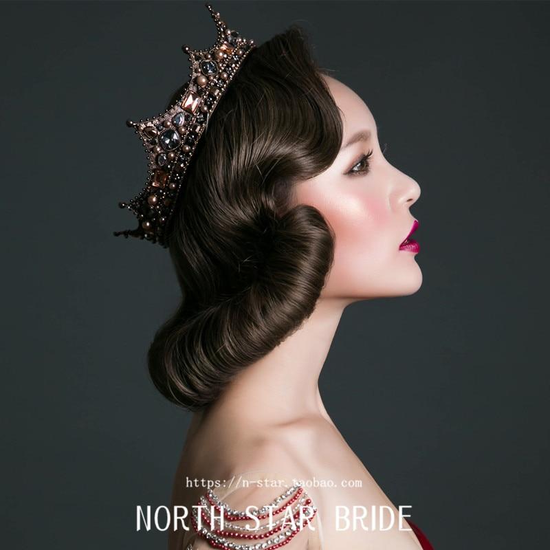 European style retro rhinstone palace queen tiara circle round Black Bride crown wedding hair accessories retro circle
