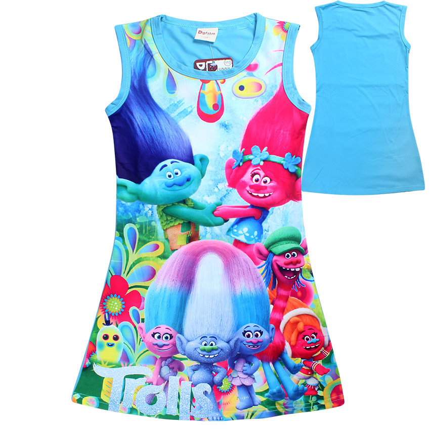 Trolls Dresses for Girls Baby Girl Clothes Summer Sleeveless Girl Dresses Children Clothing Kids Girls Dress Children Clothing