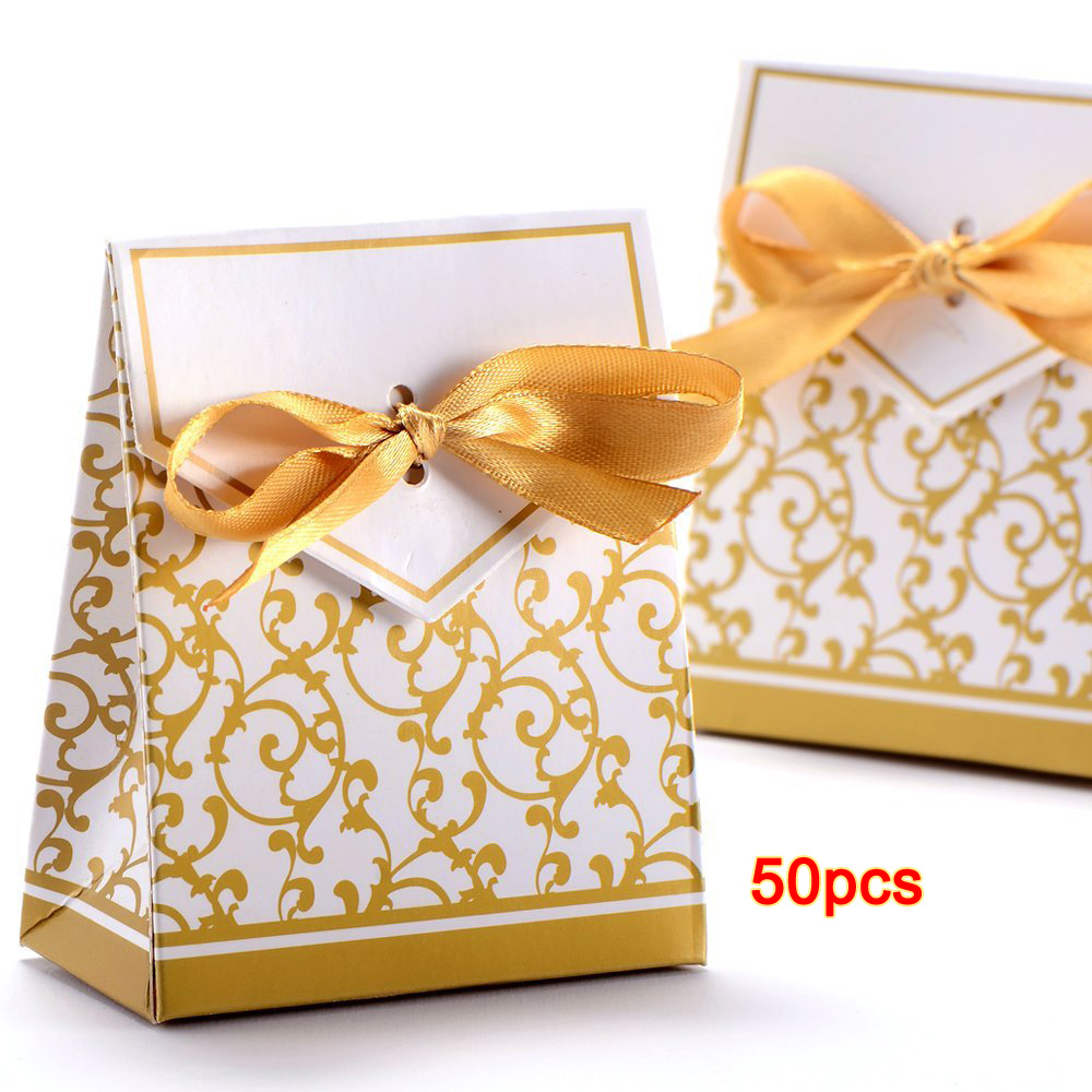 AIMA 50x Box Dragee Accessory Wedding Decoration Table Baptism Party Fleur Dore