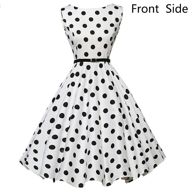 f2b55d763454 Audrey Hepburn 50s Rockabilly Dress Polka Dot Sleeveless Sexy Retro Elegant  Ball Gown Vintage Summer Beach