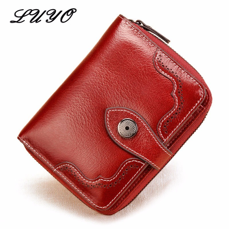 LUYO Genuine Real Leather Oil Wax Small Female Girls Wallet Women Card Holder Womens Wallets And Coin Purses Holders Handy Bag все цены